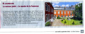 Journées du patrimoine 2015 - Musée de la Famenne (La Libre Belgique 09/09/2015)