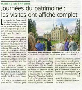 Journées du patrimoine 2015 à Marche-en-Famenne (L'Avenir du Luxembourg 16/09/2015)
