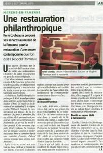 Restauration du tableau de L. Plomteux (L'Avenir du Luxembourg 03/09/2015)
